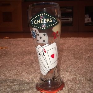 """Hand-Painted Pilsner Glass """"21"""""""